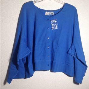 Ladies' Roaman's LS Royal Blue Cardigan Sweater 3X